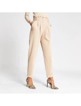 Beige Buckle Waist Peg Leg Trousers by River Island