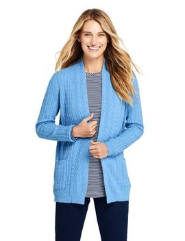 Women's Cashmere Cable Open Long Cardigan Sweater by Lands' End