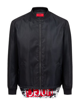 Slim Fit Bomber Jacket With Foldable Logo Flap by Boss