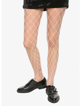 White Large Fishnet Tights by Hot Topic