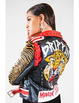 Azalea Wang Good Times Bad Times Moto Graffiti Jacket by Akira