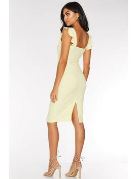 Lemon Frill Sleeve Midi Dress by Quiz