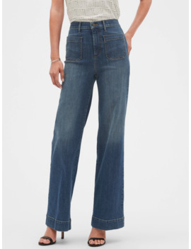High Rise Wide Leg Medium Wash Jean by Banana Republic Factory