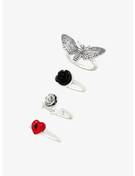 Death Moth Rose Ring Set by Hot Topic