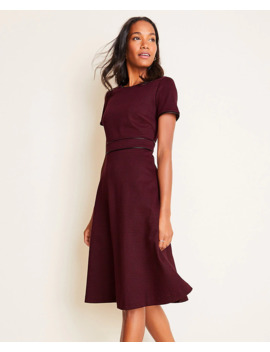 Faux Leather Trim Plaid Flare Dress by Ann Taylor