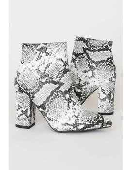 Ottava Black And White Snake High Heel Booties by Lulus
