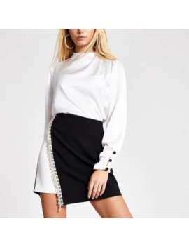 Black Monochrome Diamante Mini Skirt by River Island