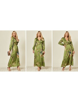 Long Sleeve Wrap Maxi Dress In Green Bird & Floral Print by Liquorish
