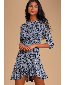 Lalaine Black And Dusty Blue Floral Print Ruched Dress by Lulus
