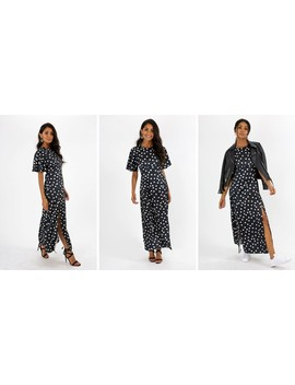 Bailey Angel Sleeve Midi Dress In Mono Spot Print by Style Cheat