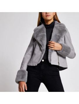 Grey Faux Fur Cuff Quilted Biker Jacket by River Island