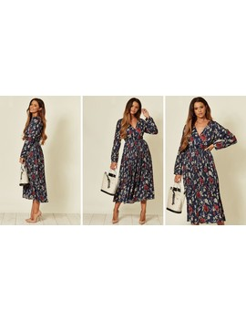 Cross Over Long Sleeve Midi Dress In Blue Floral Print by Shikha London