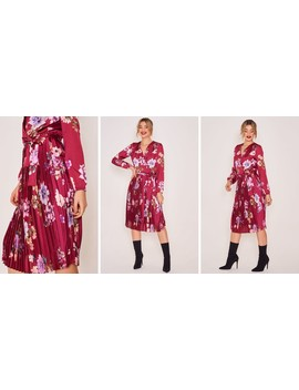 Long Sleeve Pleated Dress In Red Floral Print by Zibi London