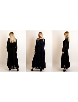 Long Sleeve Layered Maxi Dress In Navy Blue by Cy Boutique