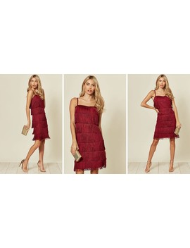 Flapper Fringe Mini Dress In Wine Red by Goddiva
