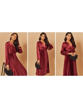 Silky Pleated Midi Dress In Burgundy by Foreva Young