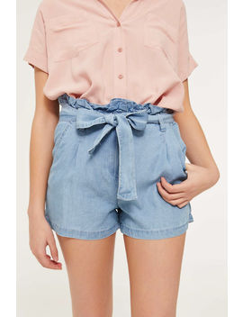 Paper Bag Chambray Shorts by Ardene