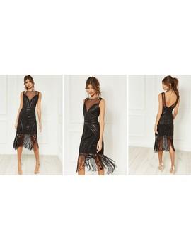 Black Mesh Insert Flapper Dress by Bella And Blue