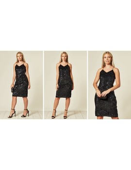 Gracie Sequin Slip Dress In Black by Blue Vanilla