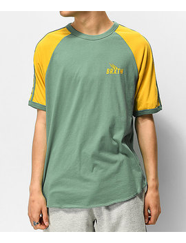 Brixton Rogers Ii Green & Yellow T Shirt by Brixton