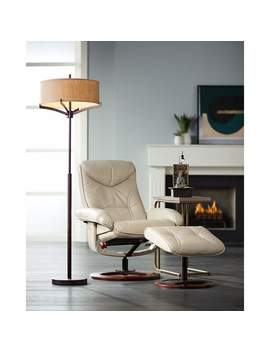 Newport Taupe Swivel Recliner And Slanted Ottoman by Lamps Plus