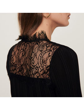 Pleated Top With Lace Trim by Maje