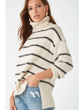 Striped High Low Turtleneck Sweater by Forever 21