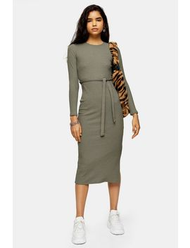Khaki Belted Midi Dress by Topshop