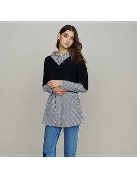 Layered Effect Cropped Sweater by Maje