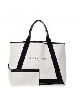 Balenciaga Cotton Canvas Calfskin Navy Cabas M Natural Black by Balenciaga