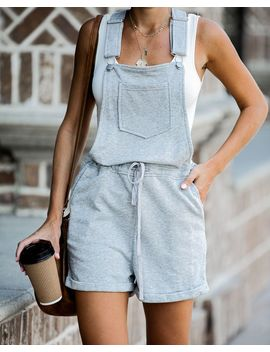 Signing Off Cotton Pocketed Overall Shorts   Grey   Final Sale by Vici