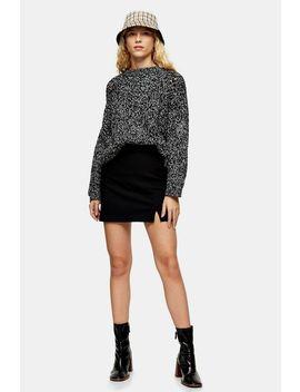 Black Plain Notch Mini Skirt by Topshop