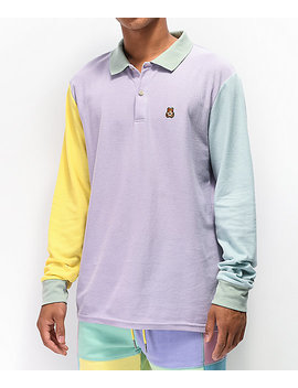 Teddy Fresh Colorblock Pastel Long Sleeve Polo Shirt by Teddy Fresh