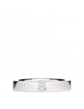 Tiffany Platinum Diamond Logo Band Ring 47 4 by Tiffany