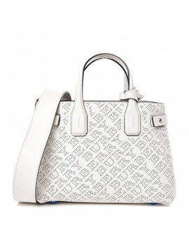 Burberry Calfskin Perforated Small Banner Tote Chalk White by Burberry