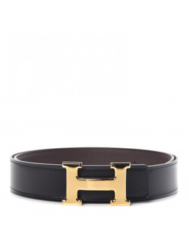 Hermes Box Togo 32mm H Belt 85 Black Chocolate by Hermes