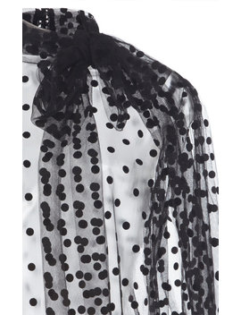 Polka Dot Flocked Tulle Top by Costarellos