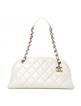 Chanel Aged Calfskin Quilted Medium Just Mademoiselle Bowling Bag White by Chanel