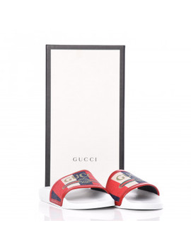 Gucci Canvas Pursuit Slide Sandals 35 Red by Gucci