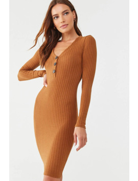 V Neck Ribbed Bodycon Dress by Forever 21