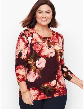 Gathered Shoulder Merino Sweater   Floral by Talbots