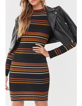 Ribbed Striped Mini Dress by Forever 21