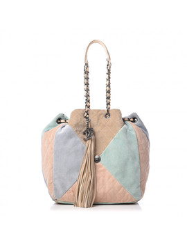 Chanel Suede Quilted Patchwork Drawstring Bag Blue Green Pink Beige by Chanel