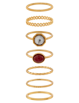 7x Hexagon Stone Ring Pack by Accessorize