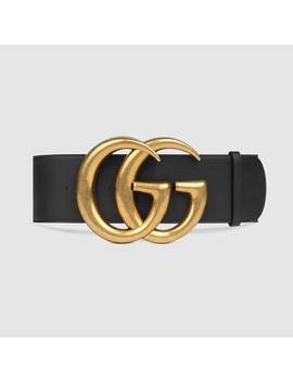 Wide Leather Belt With Double G by Gucci