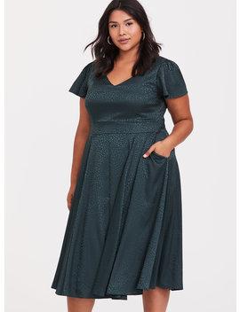 Dark Green Textured Midi Dress by Torrid