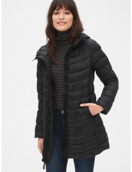 Cold Control Upcycled Lightweight Longline Hooded Puffer Jacket by Gap