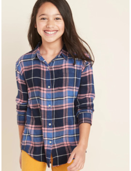 Plaid Super Soft Twill Tunic Shirt For Girls by Old Navy