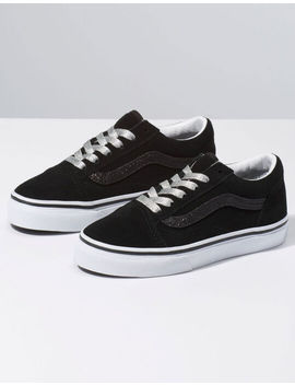 Vans Glitter Sidestripe Old Skool Black & True White Girls Shoes by Vans