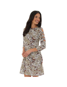 Women's Apt. 9® Print Rib 3/4 Print Caged Sleeve Swing Dress by Apt. 9